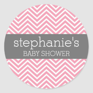 Pastel Pink & Gray Chevrons Baby Shower Collection Sticker