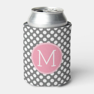 Pastel Pink & Gray Polka Dots with Custom Monogram Can Cooler