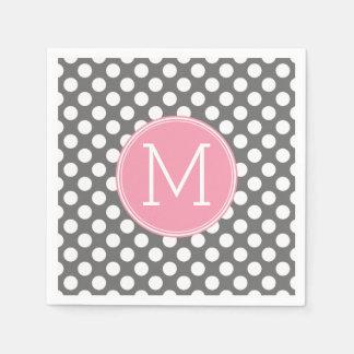 Pastel Pink & Gray Polka Dots with Custom Monogram Disposable Napkins