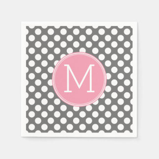 Pastel Pink & Gray Polka Dots with Custom Monogram Disposable Serviette