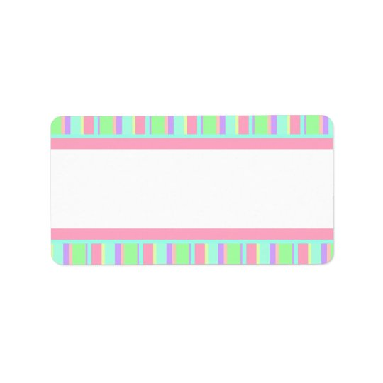 Pastel Pink, Green and Purple Stripes for Parties Label