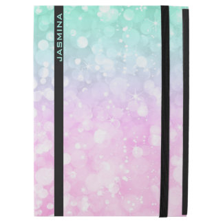 "Pastel Pink & Green Bokeh Glitter Monogram iPad Pro 12.9"" Case"