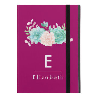 "Pastel Pink & Green Floral Bouquet Custom Monogram iPad Pro 9.7"" Case"