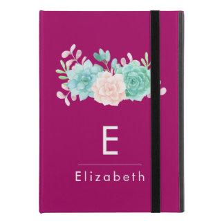 "Pastel Pink & Green Floral Bouquet Custom Monogram iPad Pro 9.7"" Case"