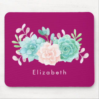 Pastel Pink & Green Floral Bouquet on Magenta Back Mouse Pad