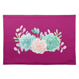 Pastel Pink & Green Floral Bouquet on Magenta Back Placemat