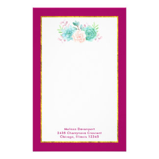 Pastel Pink & Green Floral Bouquet on Magenta Back Stationery