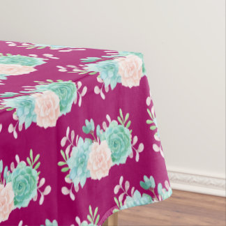 Pastel Pink & Green Floral Bouquet on Magenta Back Tablecloth