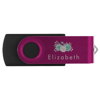 Pastel Pink & Green Floral Bouquet on Magenta Back USB Flash Drive