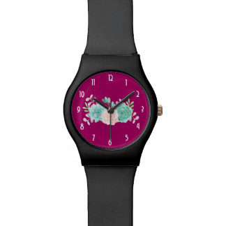 Pastel Pink & Green Floral Bouquet Watch