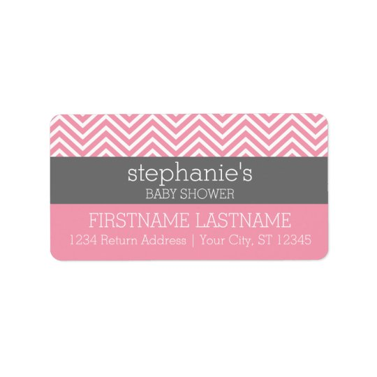 Pastel Pink & Grey Chevrons Baby Shower Collection Label