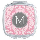 Pastel Pink & Grey Damask Pattern Custom Monogram Travel Mirror