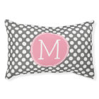 Pastel Pink & Grey Polka Dots with Custom Monogram Pet Bed