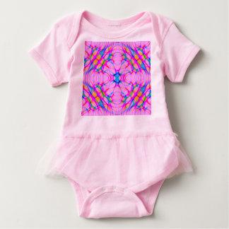 Pastel Pink Kaleidoscope Pattern Abstract Baby Bodysuit