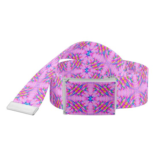 Pastel Pink Kaleidoscope Pattern Abstract Belt