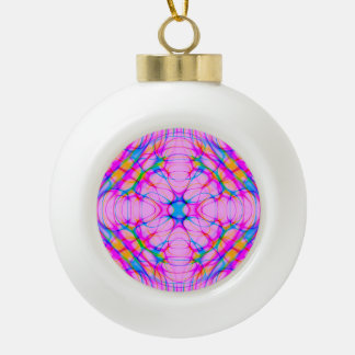 Pastel Pink Kaleidoscope Pattern Abstract Ceramic Ball Christmas Ornament