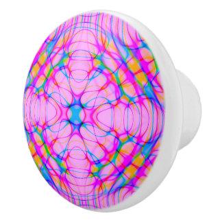 Pastel Pink Kaleidoscope Pattern Abstract Ceramic Knob