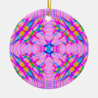Pastel Pink Kaleidoscope Pattern Abstract Ceramic Ornament