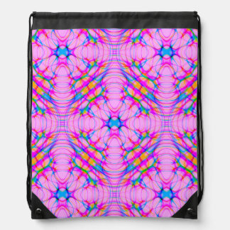 Pastel Pink Kaleidoscope Pattern Abstract Drawstring Bag