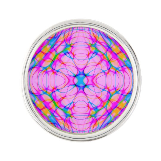 Pastel Pink Kaleidoscope Pattern Abstract Lapel Pin