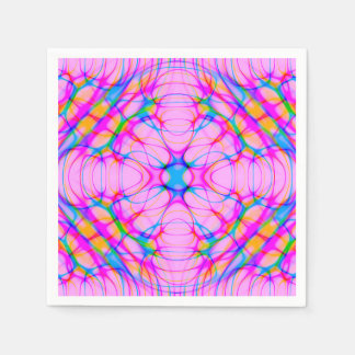 Pastel Pink Kaleidoscope Pattern Abstract Paper Napkin