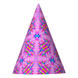Pastel Pink Kaleidoscope Pattern Abstract Party Hat
