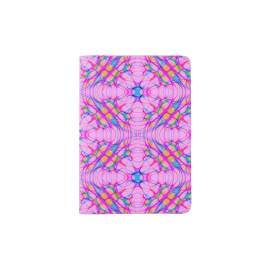 Pastel Pink Kaleidoscope Pattern Abstract Passport Holder
