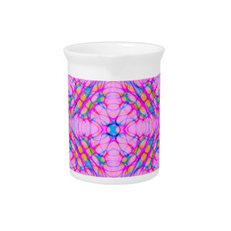 Pastel Pink Kaleidoscope Pattern Abstract Pitcher