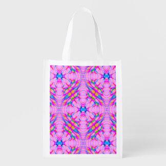 Pastel Pink Kaleidoscope Pattern Abstract Reusable Grocery Bag