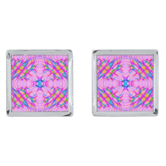 Pastel Pink Kaleidoscope Pattern Abstract Silver Finish Cuff Links