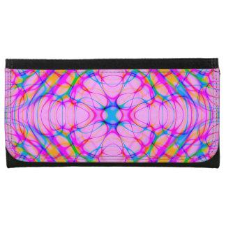Pastel Pink Kaleidoscope Pattern Abstract Wallet For Women