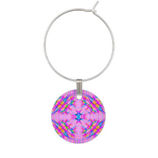Pastel Pink Kaleidoscope Pattern Abstract Wine Charm