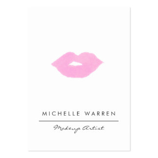Pastel Pink Lips Watercolor Large Business Card