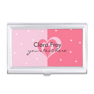 pastel pink love heart geometric triangles pattern business card holder