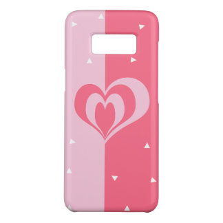 pastel pink love heart geometric triangles pattern Case-Mate samsung galaxy s8 case