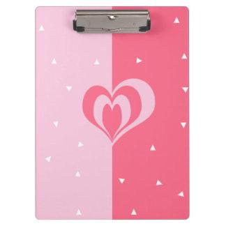 pastel pink love heart geometric triangles pattern clipboard