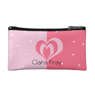 pastel pink love heart geometric triangles pattern cosmetic bag