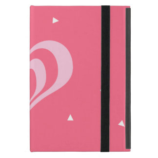 pastel pink love heart geometric triangles pattern cover for iPad mini