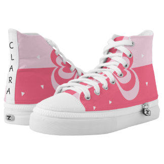 pastel pink love heart geometric triangles pattern high tops
