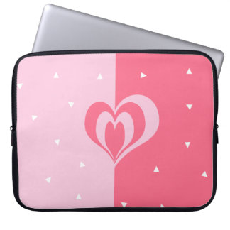 pastel pink love heart geometric triangles pattern laptop sleeve