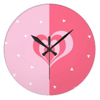 pastel pink love heart geometric triangles pattern large clock