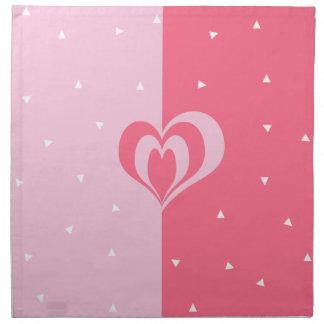 pastel pink love heart geometric triangles pattern napkin