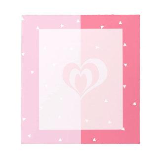 pastel pink love heart geometric triangles pattern notepad
