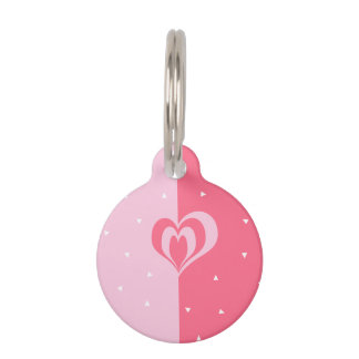 pastel pink love heart geometric triangles pattern pet tag