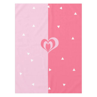 pastel pink love heart geometric triangles pattern tablecloth