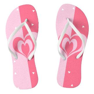 pastel pink love heart geometric triangles pattern thongs