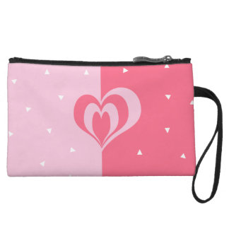 pastel pink love heart geometric triangles pattern wristlet