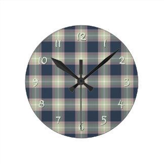 Pastel Pink Mint Green Dark Blue Plaid Pattern Round Clock