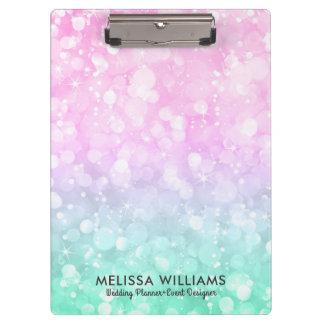 Pastel Pink & Mint-Green Glam Bokeh Glitter Clipboard