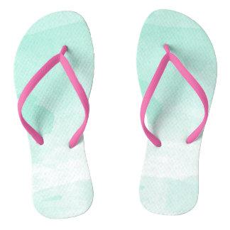 Pastel Pink-MintGreen Watercolour Thongs